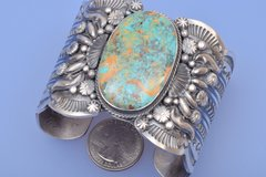Large Navajo Sterling cuff with Royston turquoise by Gilbert Tom.—SOLD!