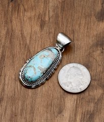 Smaller Navajo Sterling pendant with Kingman turquoise by Augustine Largo, Navajo