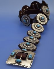 Navajo Sleeping Beauty turquoise concho belt with leather-backed Sterling conchos by Matthew Charley.