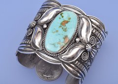 Navajo Sterling silver and Royston mine turquoise by Andy Cadman
