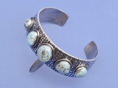 Five-stone Sterling Navajo cuff with No. 8 mine turquoise by Lester James.