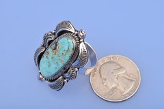 Navajo ring with Cripple Creek turquoise.