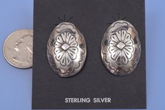 Dead-pawn Navajo stamped sterling earrings