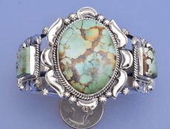 Sterling Navajo triplet cuff with high-grade Royston turquoise by Gilbert Tom.—SALE PENDING