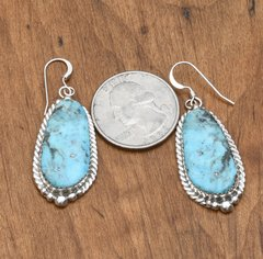 Navajo Sterling earrings with Kingman turquoise by Virginia Beccen.
