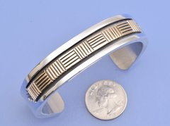 Navajo Gold and silver man's cuff by Bruce Morgan