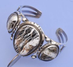 Sterling Navajo triplet cuff with White Buffalo stones by Gilbert Tom.—SOLD!