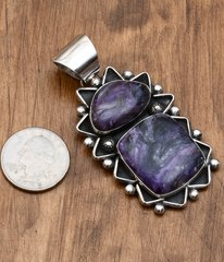 Artsy Sterling pendant with two Sugilite stones by Chimney Butte.