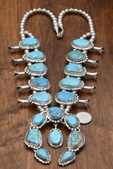 Navajo squash blossom necklace with Nevada turquoise by Augustine Largo