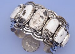 Navajo cuff with seven white buffalo stones by Marcella James.
