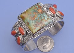 Sterling Navajo cuff with Royston turquoise and red jasper by M&R Calladitto