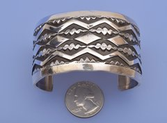 Finely-stamped Sterling silver Navajo cuff by Elvira Bill
