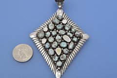 Very large Navajo 23-stone Dry Creek turquoise pendant