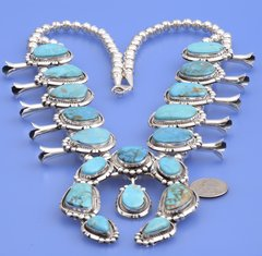 Navajo squash blossom necklace with Nevada turquoise by Alonzo Largo