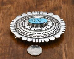 Signed, original Tommy Singer belt buckle with Sleeping Beauty turquoise (made by Mr. Singer prior to his passing).—SOLD!