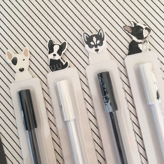 Black And White Dog Gel Pens