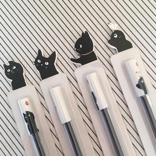 Black And White Cat Gel Pens