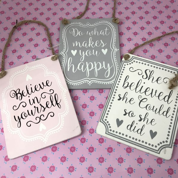 Happy Sentiments Wooden Pastel Hanging Signs By Gisela Graham
