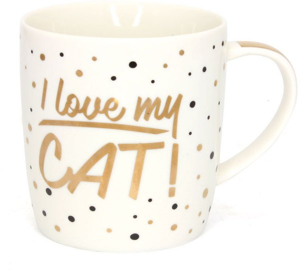 Golden Spot China Mug - I Love My Cat!