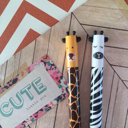 Giraffe and Zebra Gel Pens