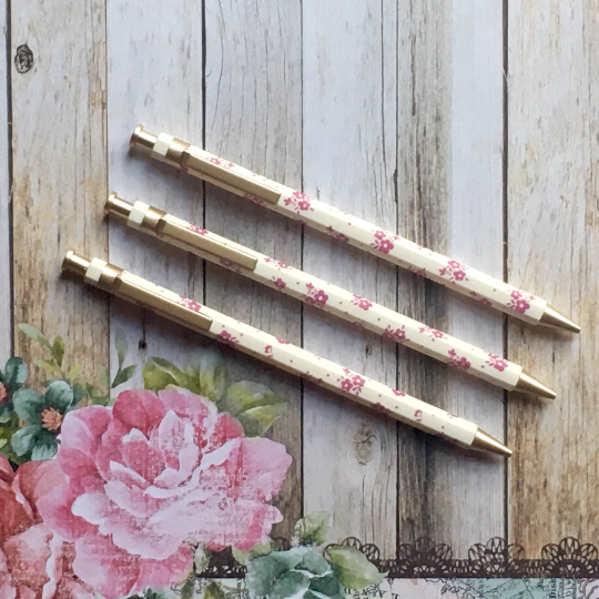 Floral Gold Clip Mechanical Pencil - White & Pink