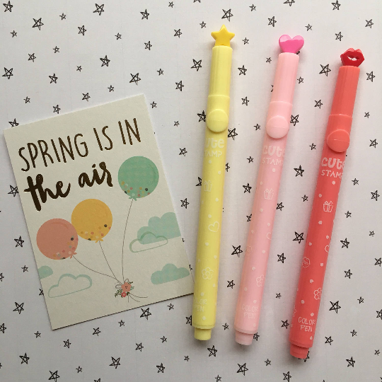 Cute Stamp Markers - Apple, Cloud, Flower, Heart, Lips, Star
