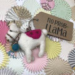 Felt LLama Keyring - No Prob-Llama