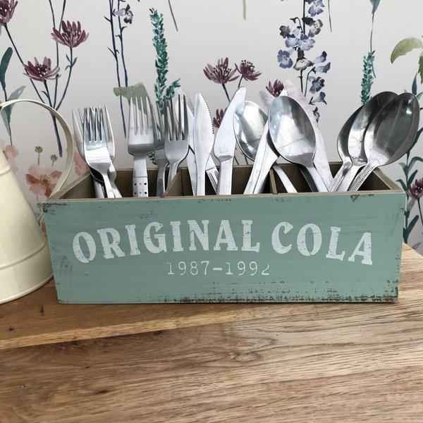 Retro Style Wooden Cutlery Holder / Storage Box