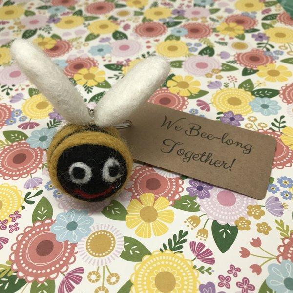 Felt Bee Keyring - We Bee-Long Together!