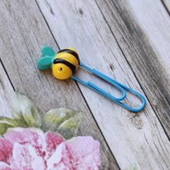 Bee Happy Paper Clip - Blue