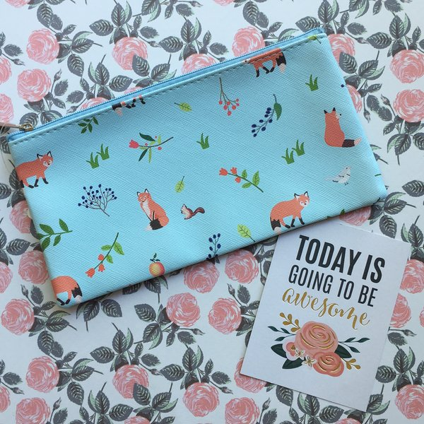 Retro Fox PU Pencil Case
