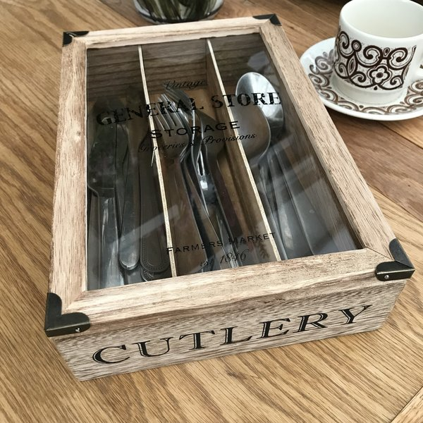 Vintage Style Wooden Cutlery Box