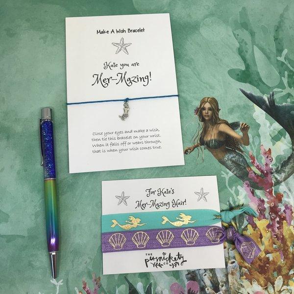 Mer-Mazing Bundle! Mermaid Pen, Hair Tie and Make A Wish Bracelet