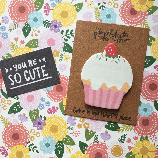 Cupcake Sticky Note - Cake Is My Happy Place!