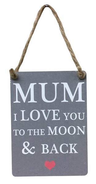 Mum I Love You To The Moon & Back Mini Metal Sign!