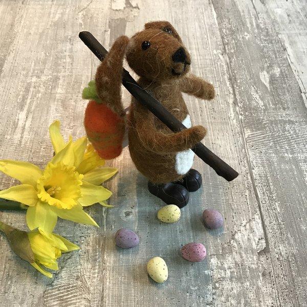 Woollen Brown Mr Bunny by Gisela Graham