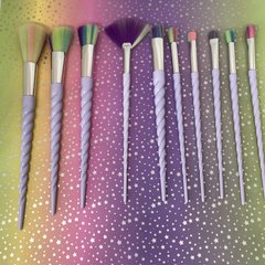 Unicorn Make Up Brushes - Purple, Pearl Effect