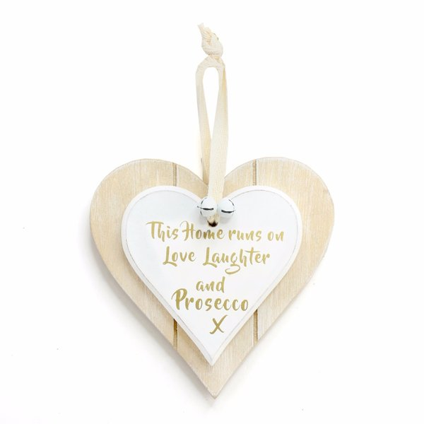 This Home Runs On Love, Laughter And Prosecco Double Hanging Heart