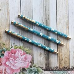 Floral Gold Clip Mechanical Pencil - Blue
