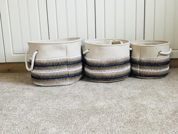 Stripy Canvas Storage Baskets, Set of 3