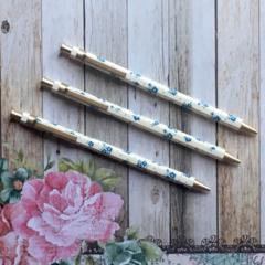 Floral Gold Clip Mechanical Pencil - White & Blue