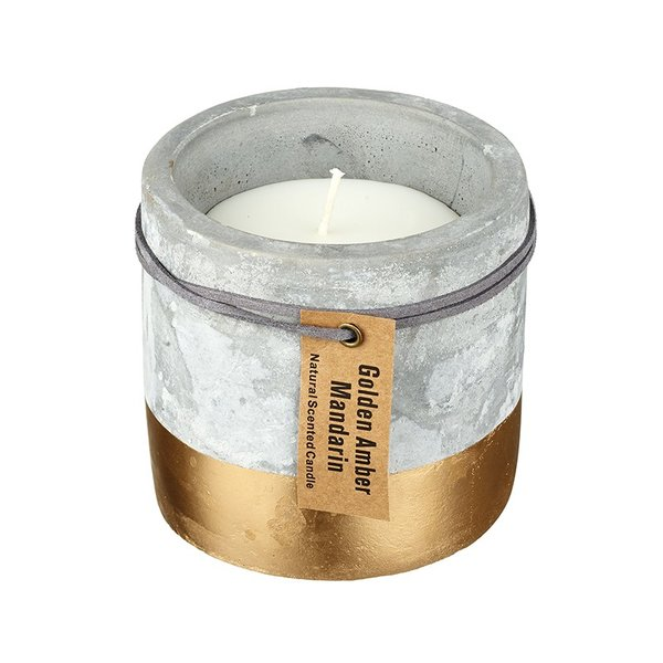 Large Concrete Candle - Gold Dipped Finish
