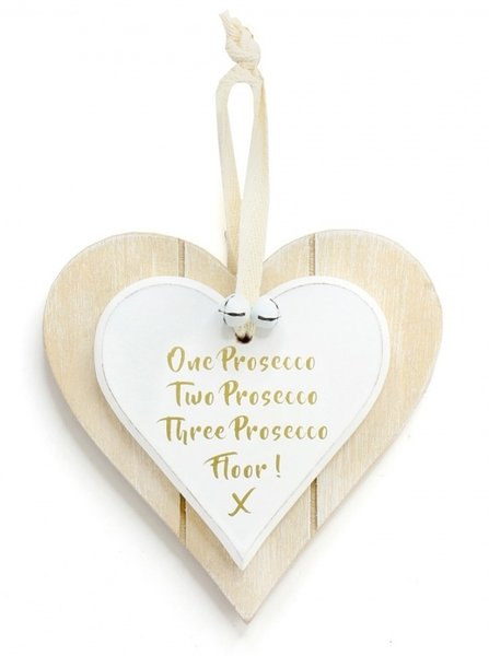 One Prosecco Double Hanging Heart