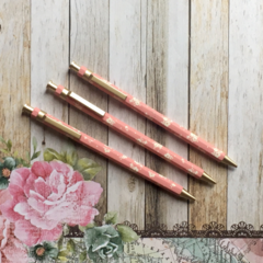 Floral Gold Clip Mechanical Pencil - Pink