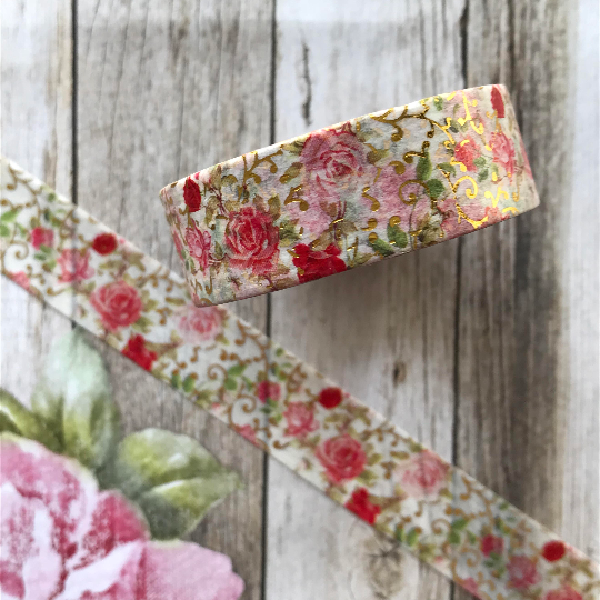 Rose Washi Tape with Gold Foil Detailing