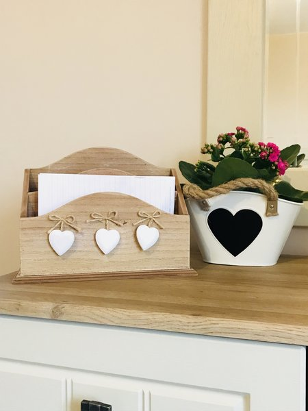 Letter Rack With Wooden Hearts