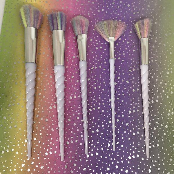 Unicorn Make Up Brushes - White, Pearl Effect