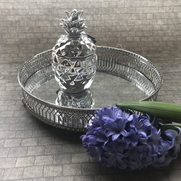 Mirrored Silver Candle Plate