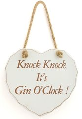 Knock Knock It's Gin O'Clock! Shabby Chic Wooden Hanging Heart
