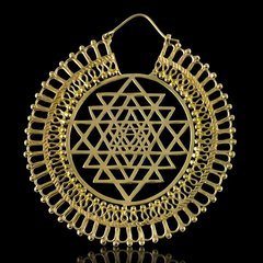 TRIBAL FUSION Vintage Tribal BellyDance SRI YANTRA Hoop Earrings
